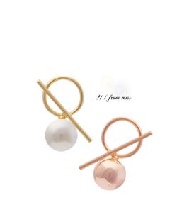 鲍比部分珍珠球耳环(er030)